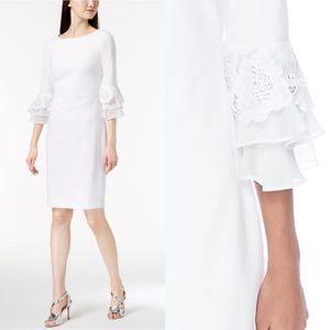 Calvin Klein white lace chiffon sheath dress sz 4
